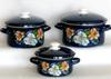 Набор посуды эмал. 3пр. БУКЕТ ОРХИДЕЙ-1 кастр. цилиндр.  2,3;3;4л  Керчь Букет орхидей-1