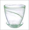 Горшок д/цветов 0,85л с поддоном стекло алеб. зел. 164-139 (6)