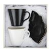 Набор чайный 4пр 220мл 16x11,5см, кост. фарфор  Лист блэк&вайт MILLIMI 802-095