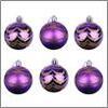 Украшение елочное 6шт шары 6см пластик, фиолетовый с декором, коробка ПВХ СНОУ БУМ 373-208