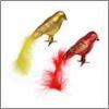 Украшение елочное 9см птица с хвостом, на клипе, пластик, красный, золото СНОУ БУМ 374-209